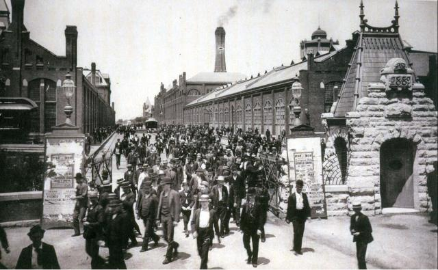Workers on strike leave the Pullman Factory
