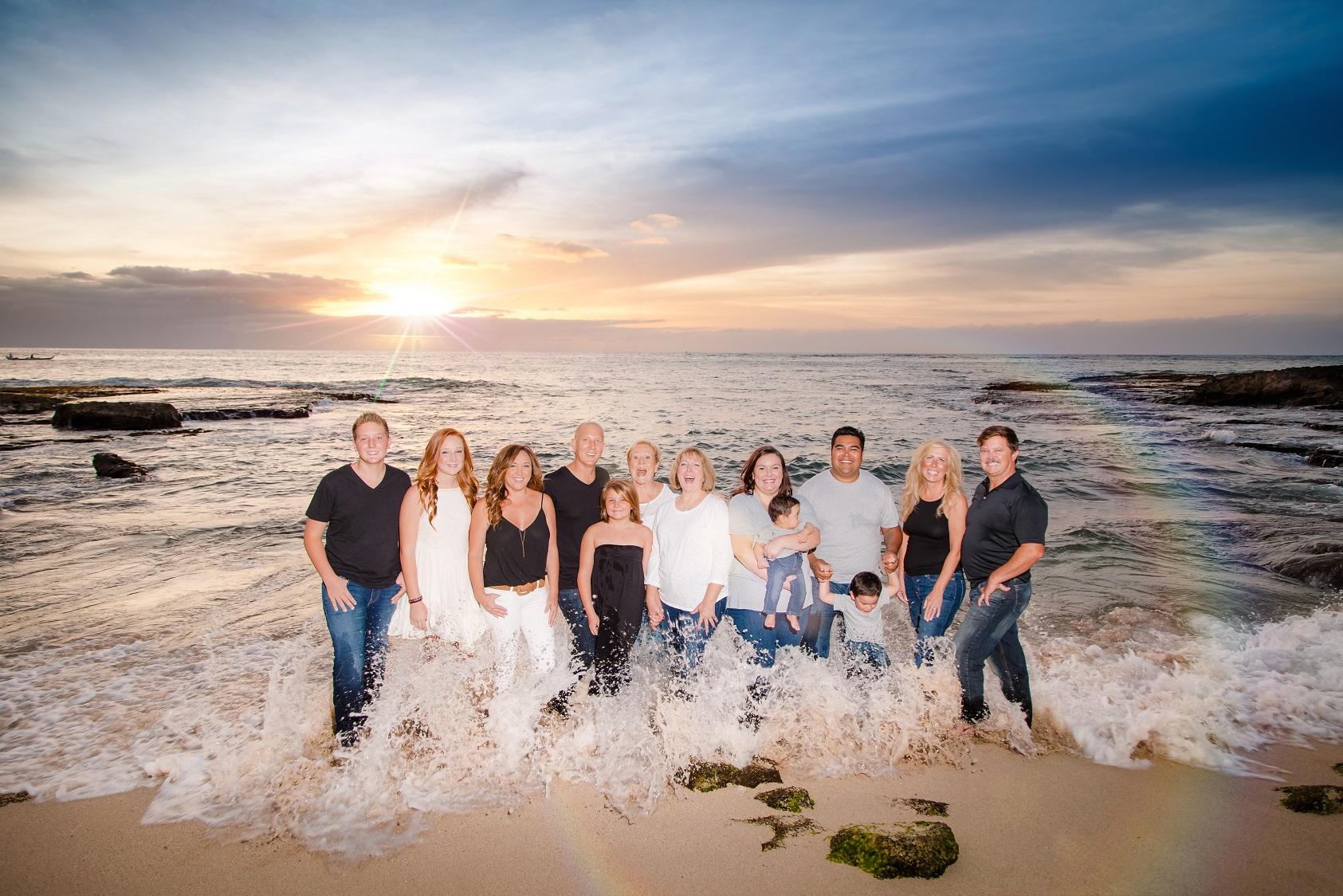 oahu family beach sunset