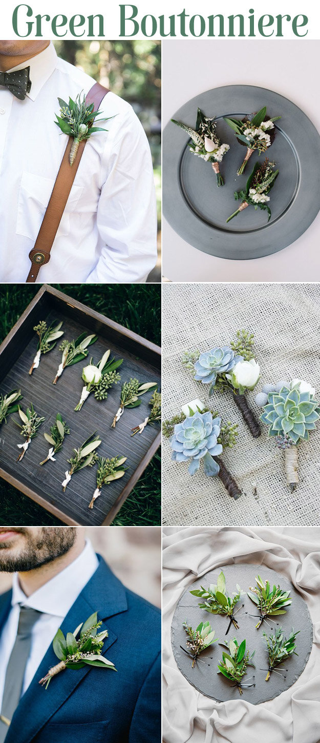 Green Boutonniere's for a Fresh Summer Wedding Look
