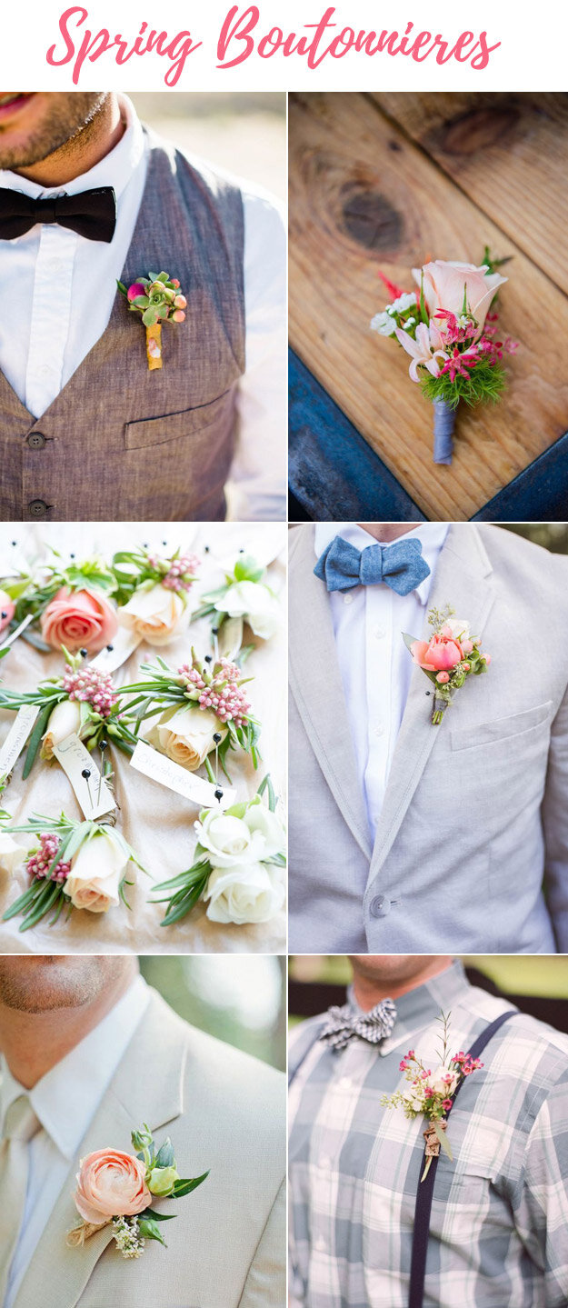 Spring Boutonnieres With a Pop of Color