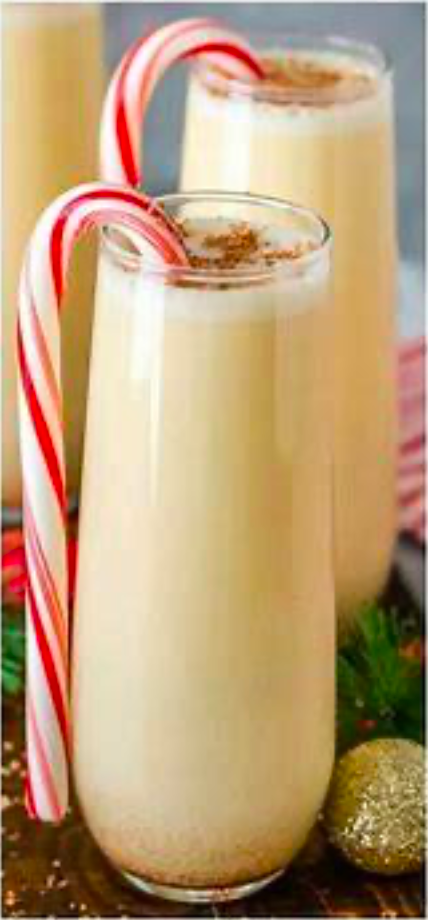 Eggnog White Russian - Punch up everyone's favorite holiday flavor, egg nog, with peppermint and coffee liqueurs.from Pour Girls and Some Guys