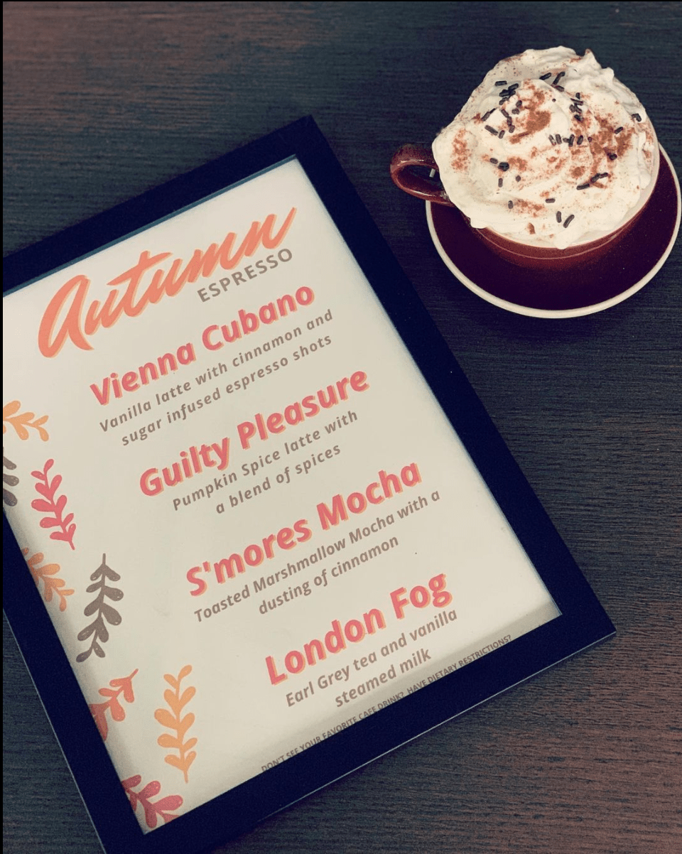 """Seasonal Espresso & Tea Flavors - S'mores Mocha, London Fog, Vienna Cubano to what Espresso Elegance has aptly named the """"Guilty Pleasure"""" aka everyones favorite autumn flavor the pumpkin spice latte, these autumnal flavors feature Fall's favorite flavors.from Espresso Elegance"""