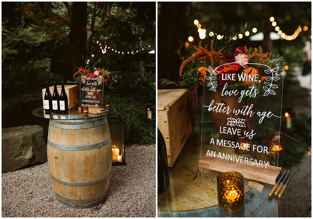 The trend of signing bottles of wine for the couple to open on special anniversaries is one of our favorite guest book ideas. Elevate the idea with a beautiful acrylic sign letting your guests know how this modern guest book works. Planning and Coordination by Pink Blossom Events , Signage by Westwood Creative Co. (formerly known as Paper Fling), Rachel Birkhofer Photography