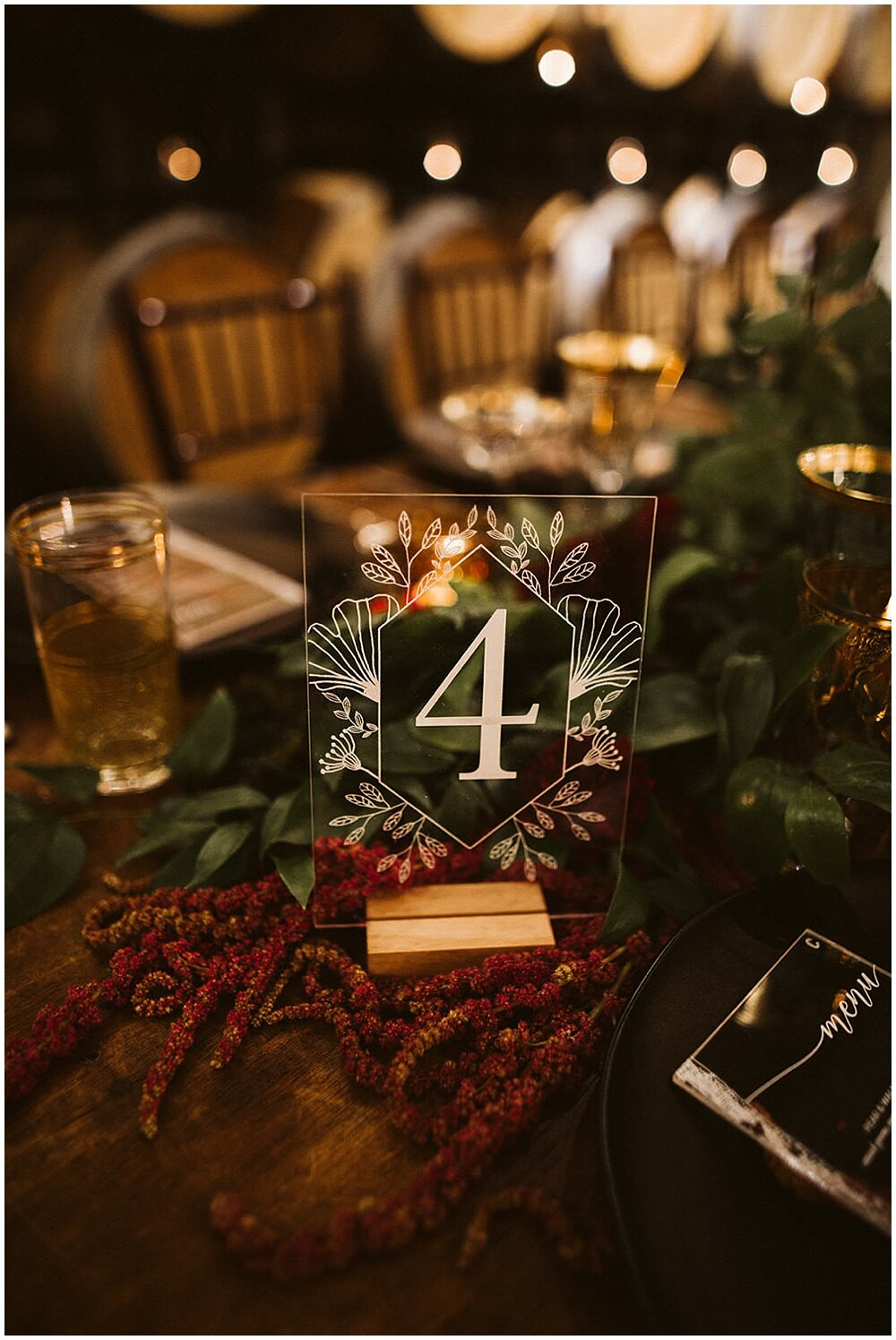 Etched botanicals and table numbers make a stunning accent to your reception tables. Planning and Coordination by Pink Blossom Events , Signage by Westwood Creative Co. (formerly known as Paper Fling), Rachel Birkhofer Photography