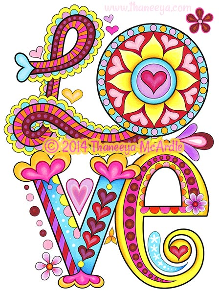 peace and love coloring