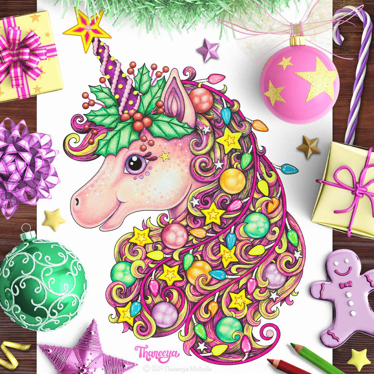 Christmas Unicorn Coloring Lesson Thaneeya Com