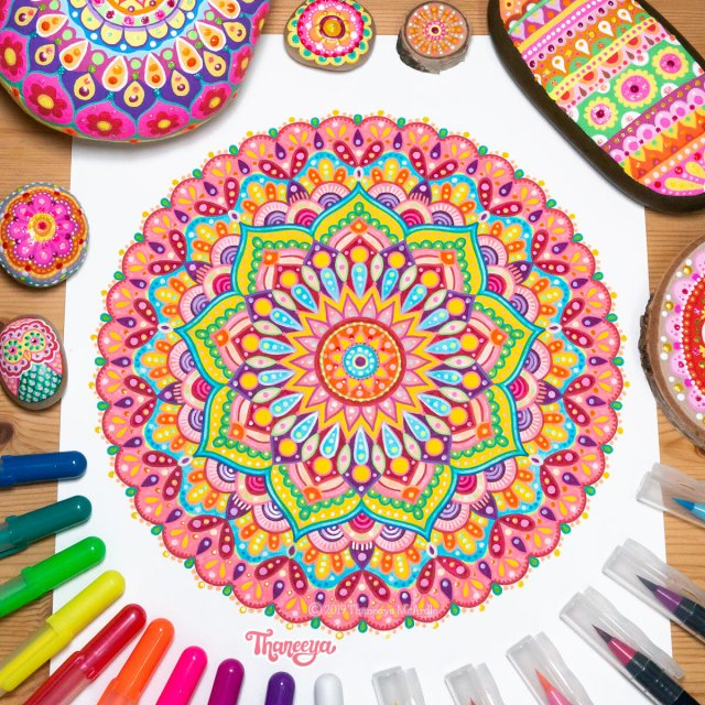 Detailed Mandala Coloring Pages by Thaneeya McArdle - Set of 6