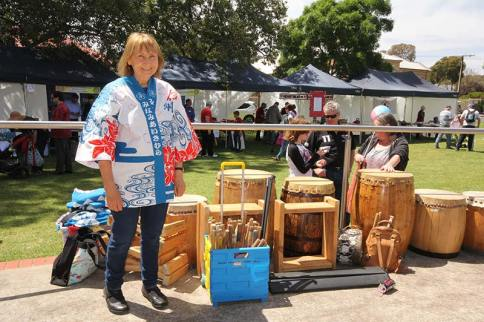 Sandy Creek Primary School's Mary McMaster with some of the Taiko drums they use in their performances