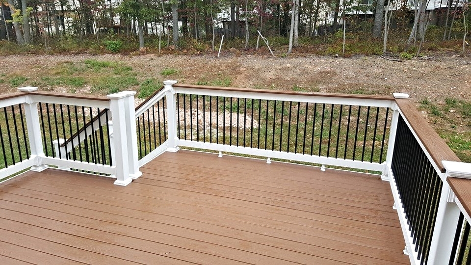 Deck Builder Pictures Maryland Decking Decks Patios And | White Railing Black Spindles | Paint | Wrought Iron | Porch Railing | Iron Balusters | Aluminum Balusters