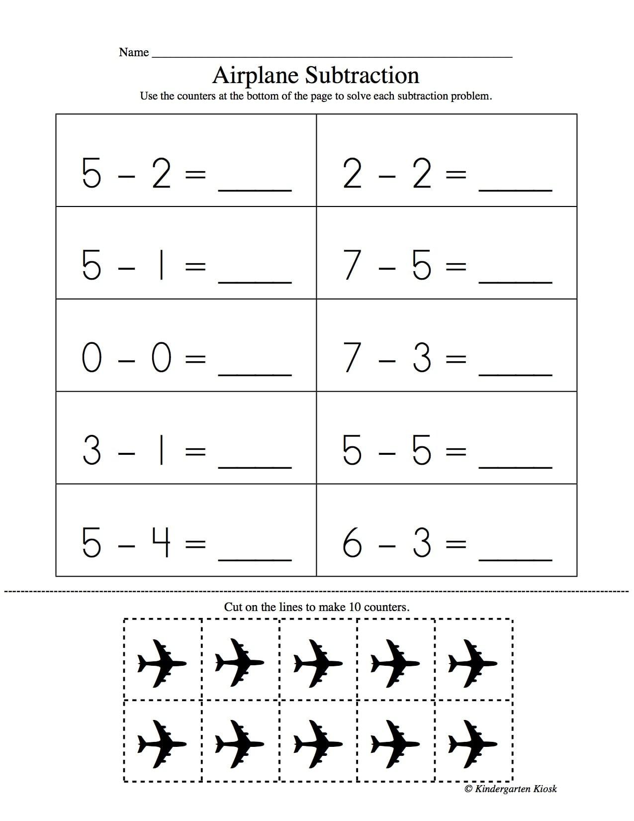 Subtraction Worksheets for Kindergarten — Kindergarten Kiosk [ 1650 x 1275 Pixel ]