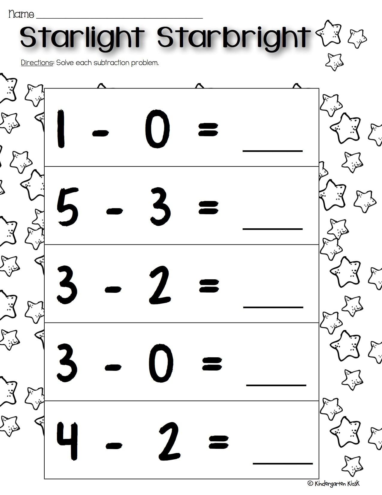 Kindergarten Subtraction Worksheets — Kindergarten Kiosk [ 1650 x 1275 Pixel ]