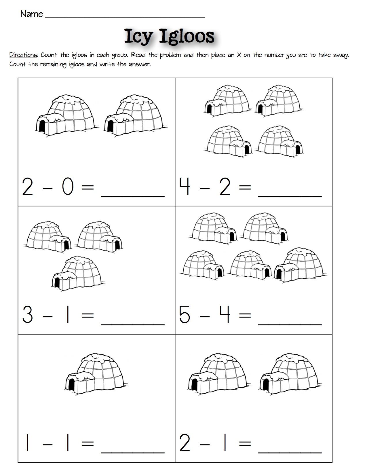 Subtraction Worksheets: Winter — Kindergarten Kiosk [ 1650 x 1275 Pixel ]