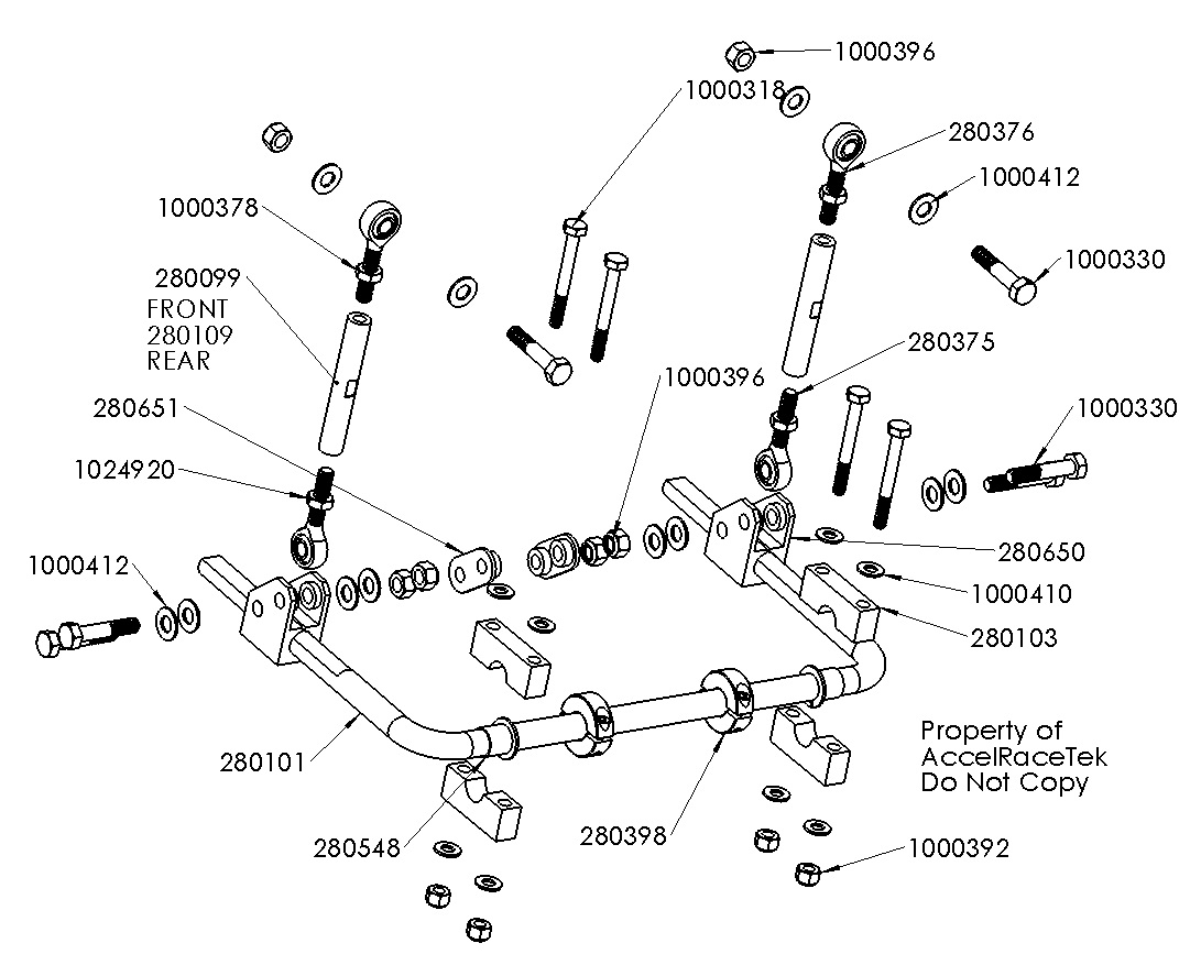 hight resolution of stabilizer bar exploded view