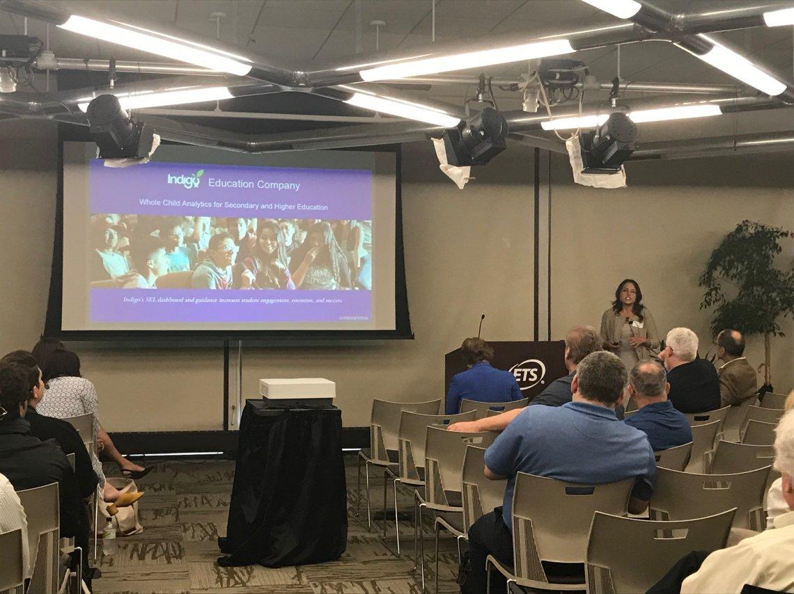 Sheri Smith presenting Indigo Education Company to ETS employees