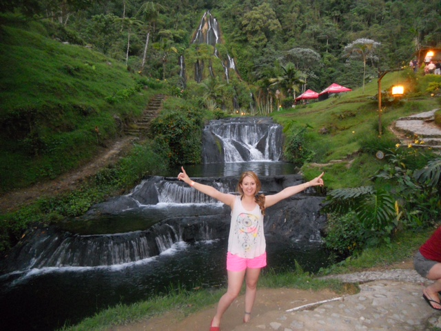 Hotsprings waterfall in the background