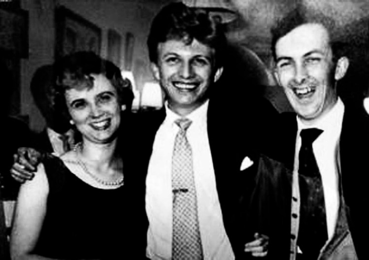 Allan Singleton-Wood (right) pictured in the late 1950s with his first wife, Joan and entertainer Tommy Steele.. Photo: Allan Singleton-Wood Collection.