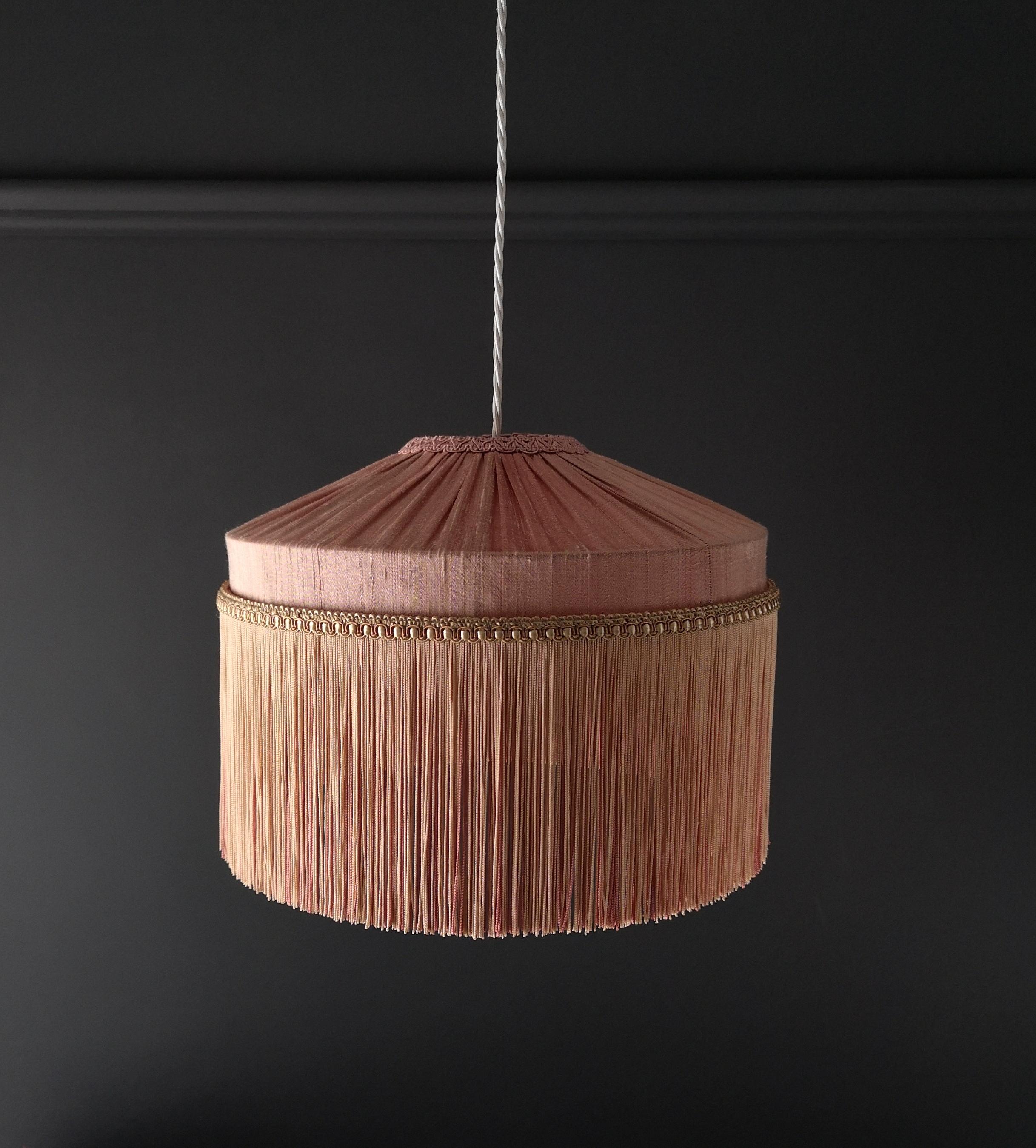 Tiffany Lamp Shade Straight Fringe Blush Pink Tin Design