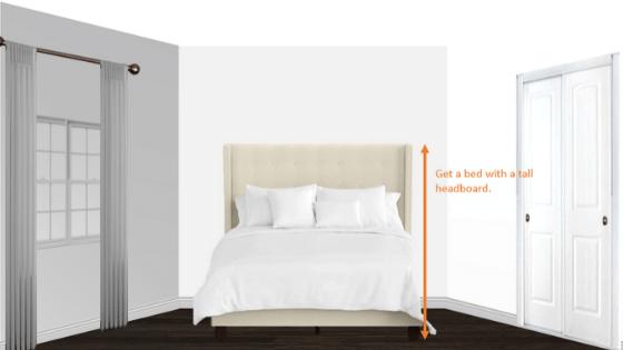 a queen bed in a 10 x 10 bedroom