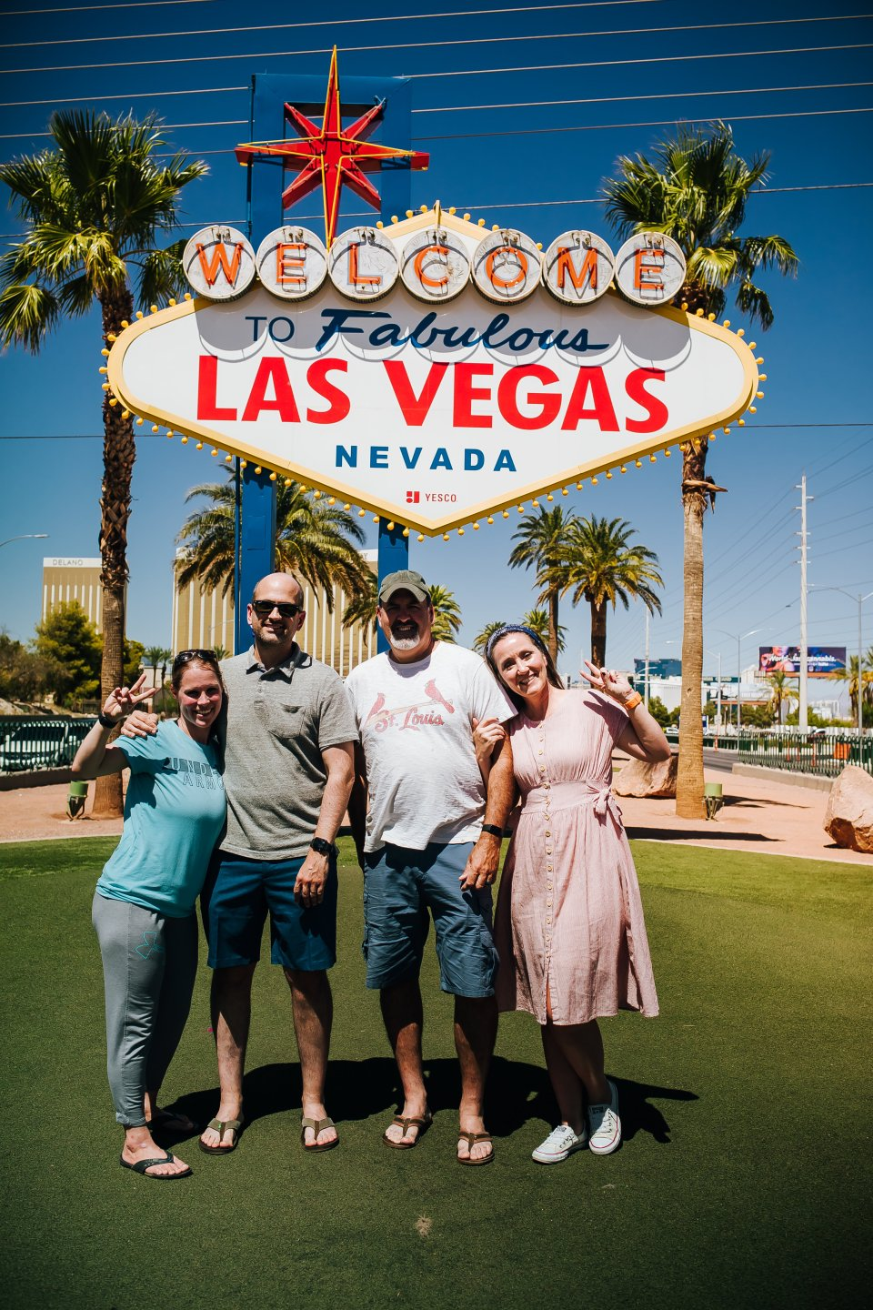 The four of us in front of the Las Vegas sign | OUR 4 DAY LAS VEGAS TRIP | J.B. TOLS