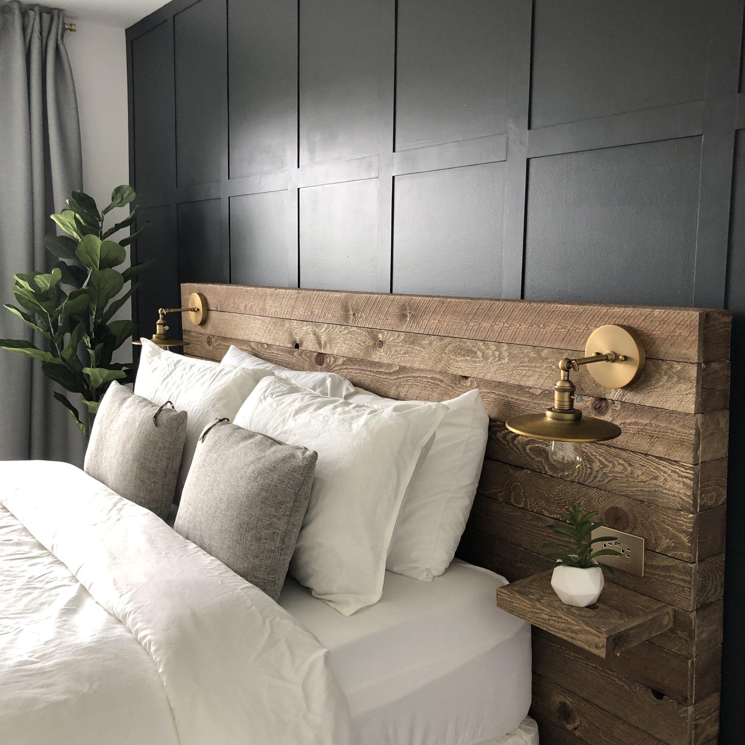 diy reclaimed wood headboard colors