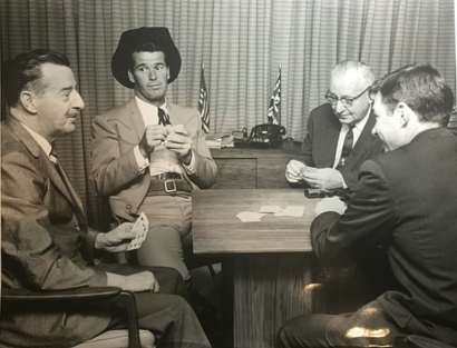 Left to right: Fred McKeen, James Garner, Bob Wessner and my dad John Gabellini