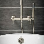 Contemporary Wall Mount Tub Filler Faucet In Brushed Nickel With Levers Pelham And White