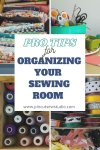 All my best tips for sewing and craft room organization! Learn how to keep your space clean, organized and clutter free, with good systems and good habits. || Pin Cut Sew Studio #sewingroom #craftroom #organization