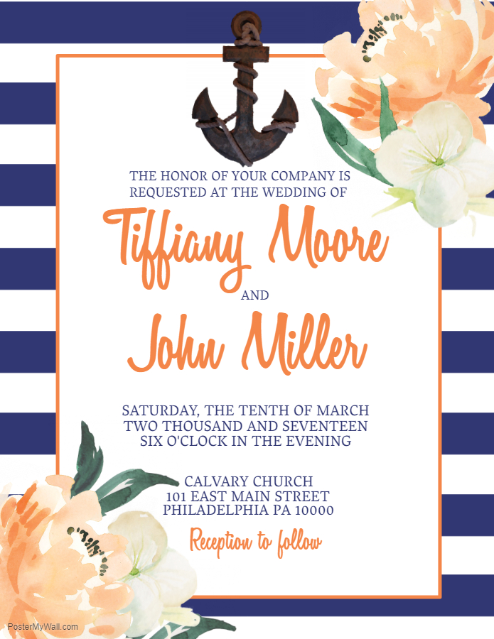 Sailor themed save the date invite