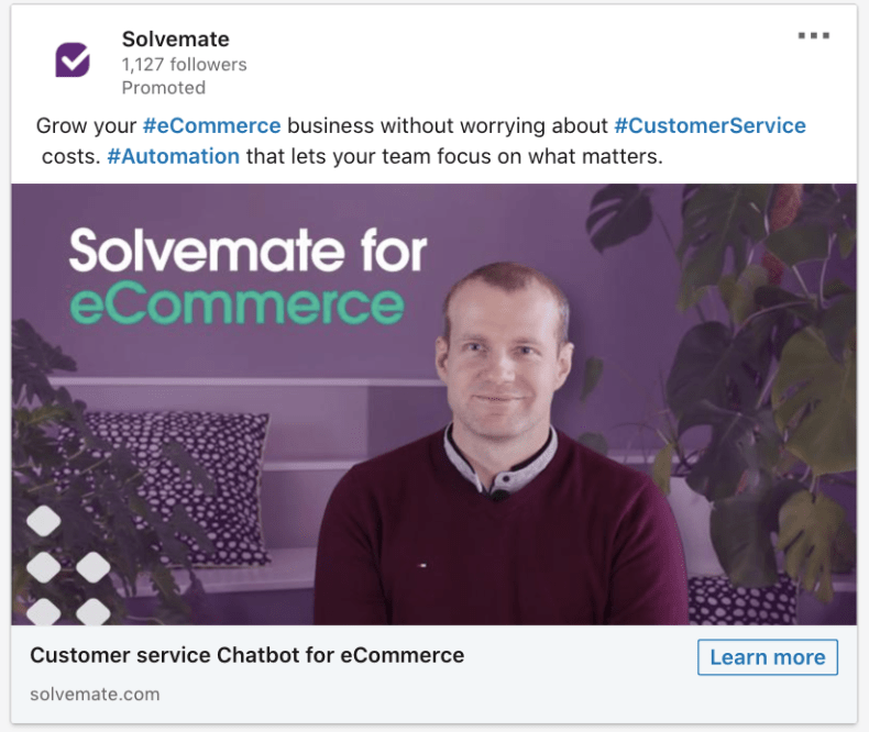 Solvemate uses a couple of sentences to explain how the customer's business can benefit from using the automation tool.