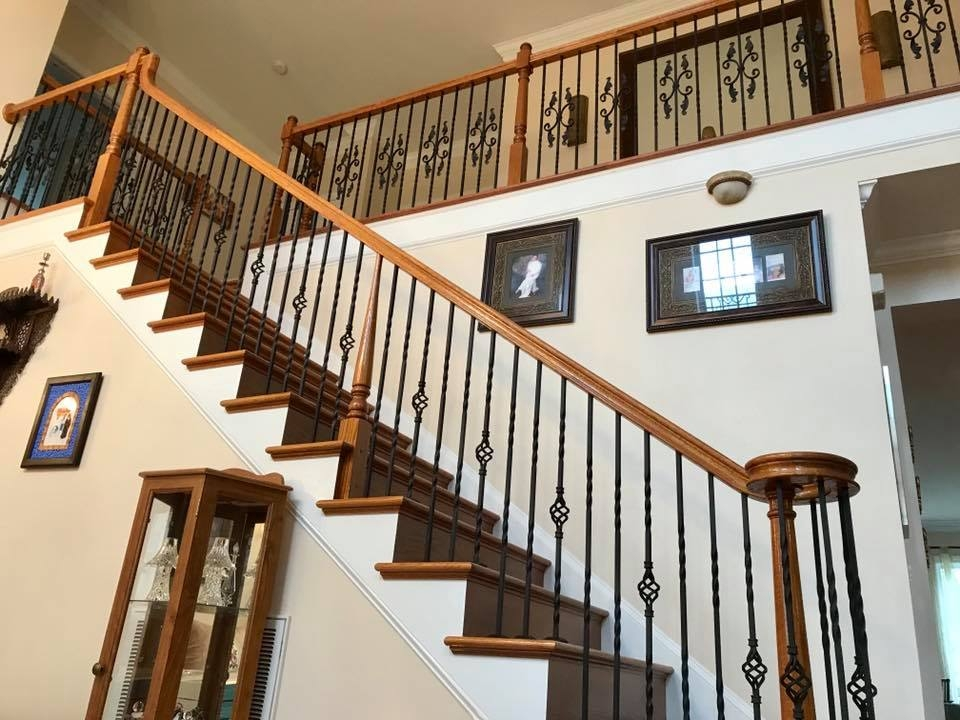 Master Fabrication — Wrought Iron Staircase Design Center | Wood And Rod Iron Railing | Wooden | Dark Stained | Wrought Iron | Pipe | Simple Modern