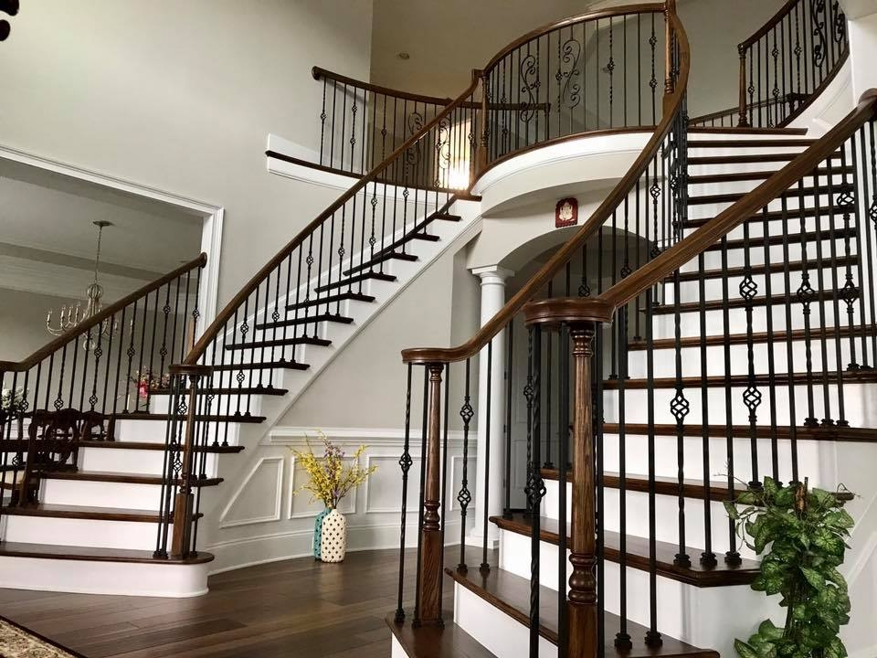 Master Fabrication — Wrought Iron Staircase Design Center | Iron And Wood Staircase | Traditional | Spiral | White | Internal | Cherry Wood