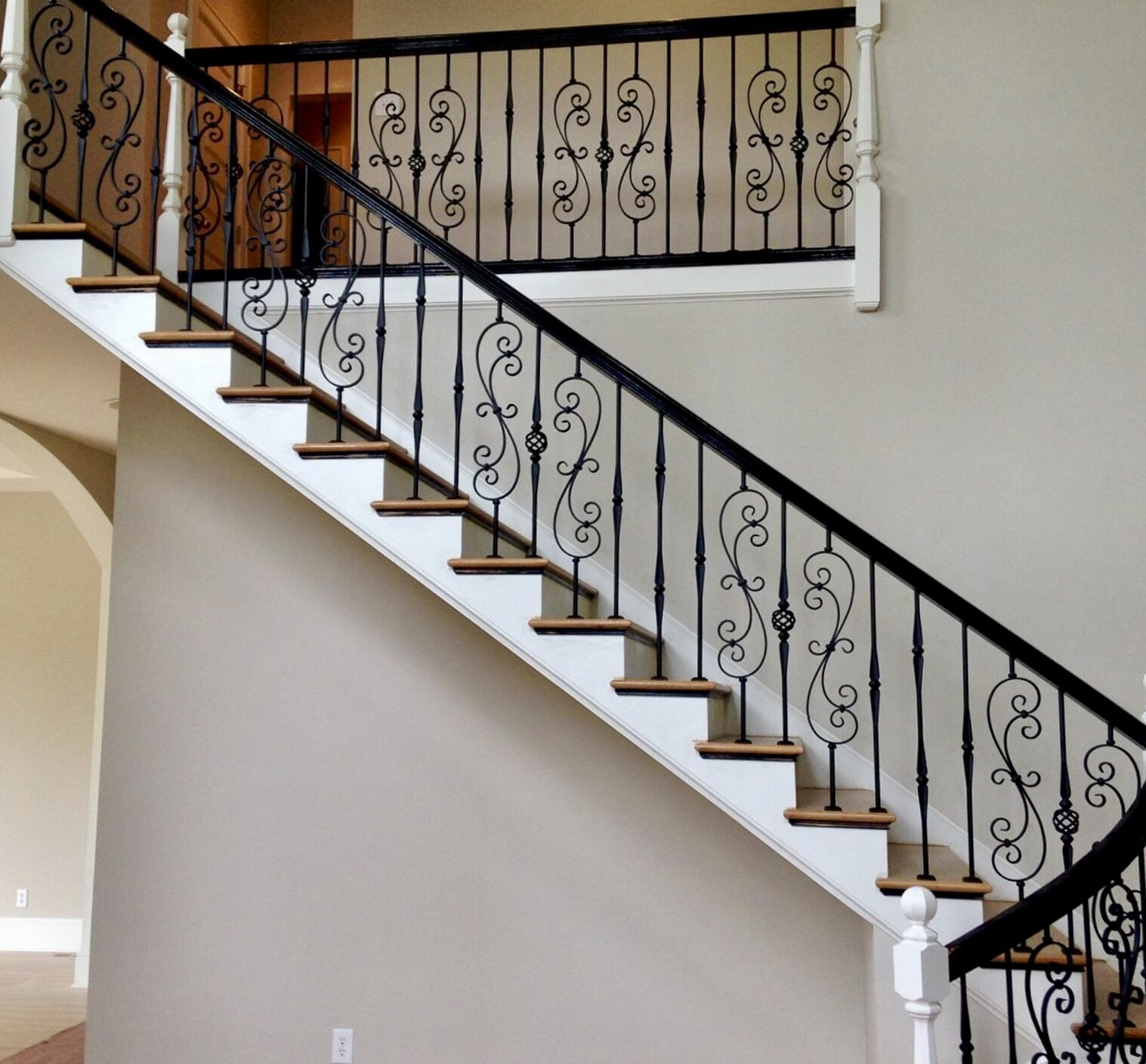 Wrought Iron Balusters Charlotte Nc Stair Railings | Metal Railing For Steps Outside | Front Porch | Deck Stair | Aluminum | Deck Railing | Staircase