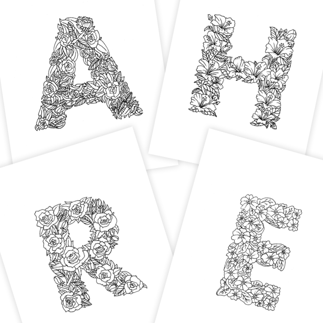 23 Alphabet Coloring Pages (Illustrated with Flowers)  Digital Download   Boelter Design Co.