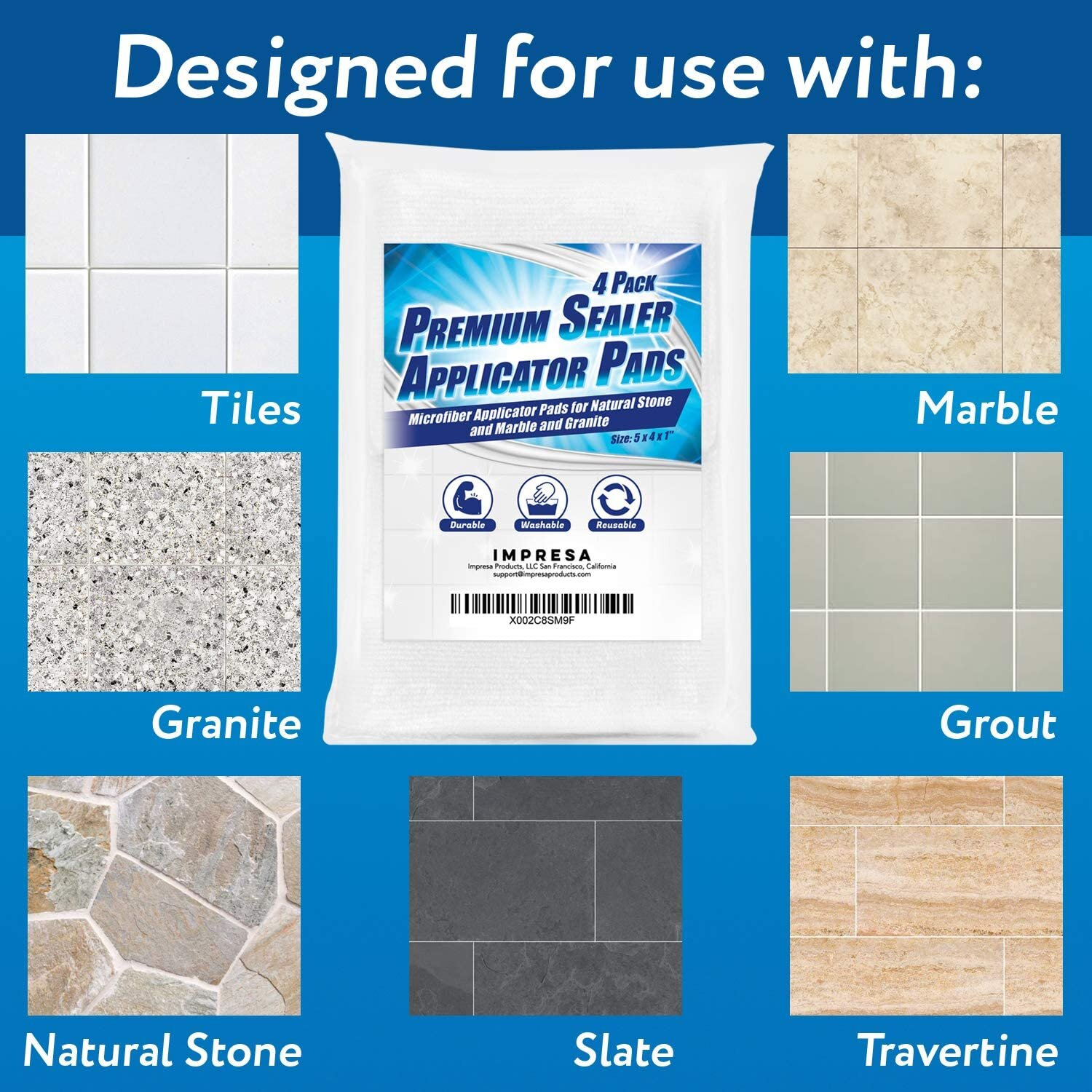 4 pack sealer applicator pad to seal tile marble granite natural stone slate travertine and grout surfaces with advanced microfiber