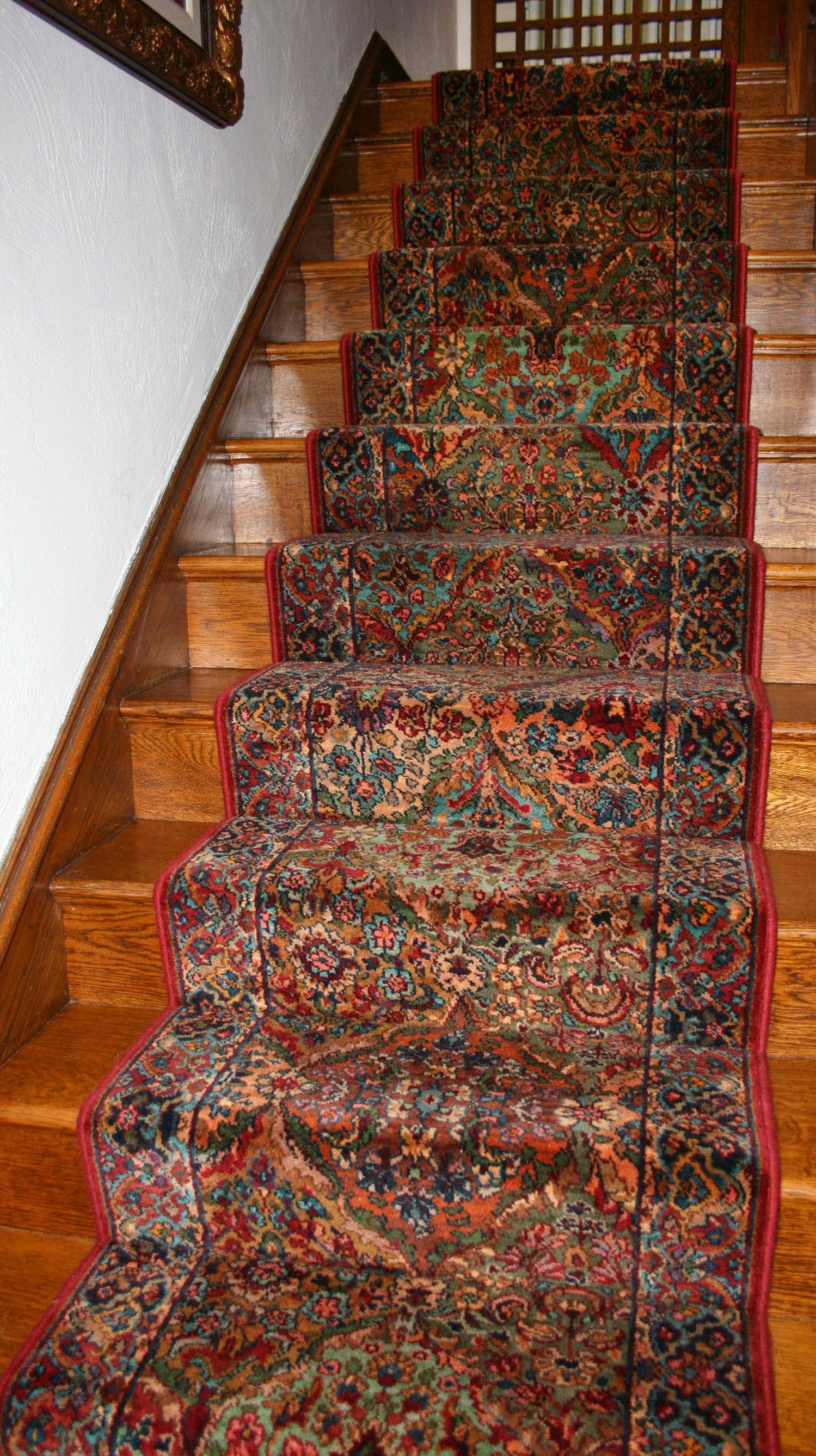 Gallery Of Our Carpet And Rug Jobs — Lang Carpet   Traditional Stair Carpet Runners   Bespoke   Patterned   Modern   Stair Landing   Dark Stain