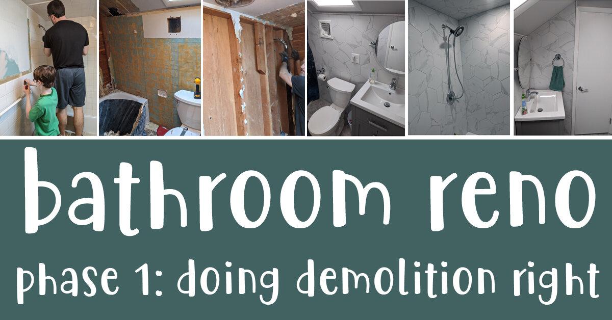 diy bathroom reno phase 1 demo tile