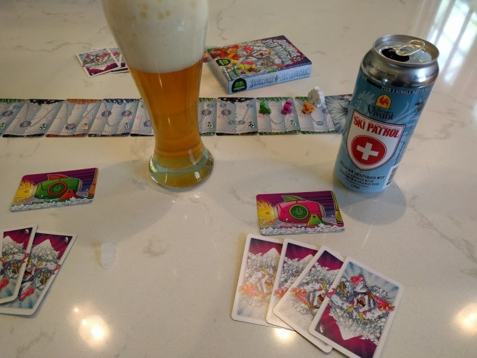 Avalanche at Yeti Mountain board game with Ski Patrol beer