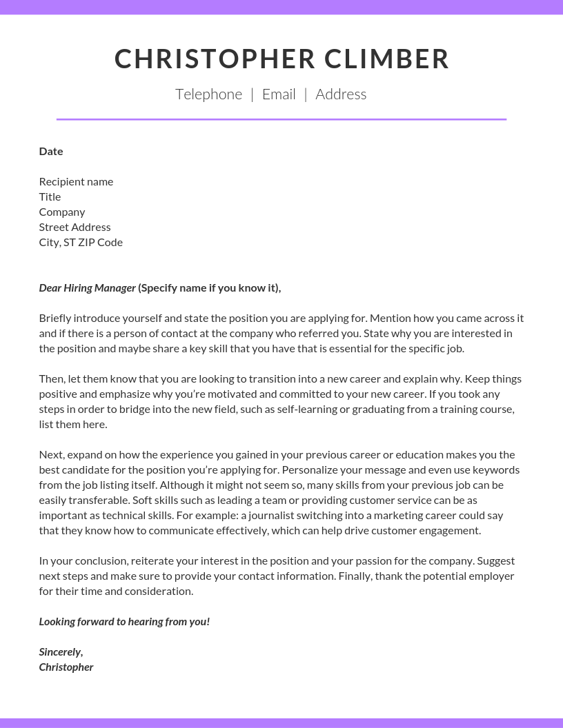 Sample Career Change Cover Letter And Writing Tips Cute766