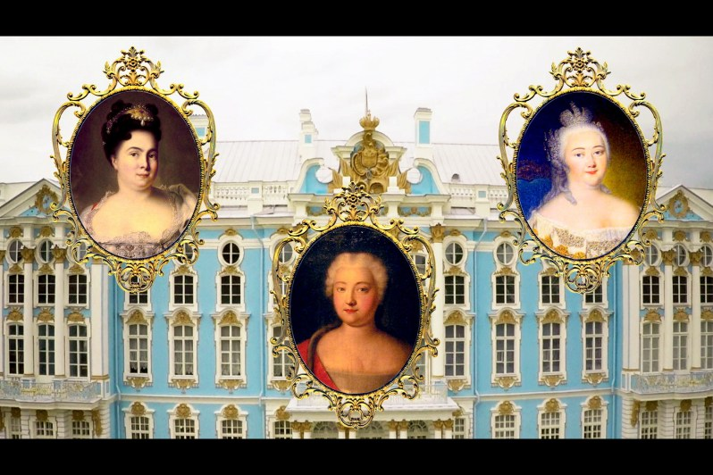 """Drei Schlossherrinnen haben den Katharinenpalast nach ihren jeweils eigenen Vorstellungen umgestaltet: zunächst Katharina I. (li.), dann ihre Tochter Elisabeth (re.) und schließlich Katharina II., genannt """"die Große"""" (Mi.).  ©Cinétévé"""