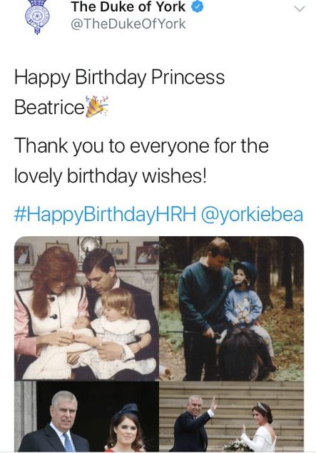 Die Glückwünsche gingen zwar an Prinzessin Beatrice, die Fotos zeigen aber ihre jüngere Schwester Eugenie.  © Screenshot/  https://twitter.com/TheDukeOfYork