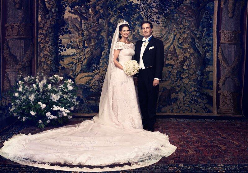Das Brautkleid von Prinzessin Madeleine wurde erst wenige Minuten vor ihrer Hochzeit fertig. Christopher O'Neill ahnte davon beim Jawort nichts. © Ewa-Marie Rundquist, Königlicher Hof