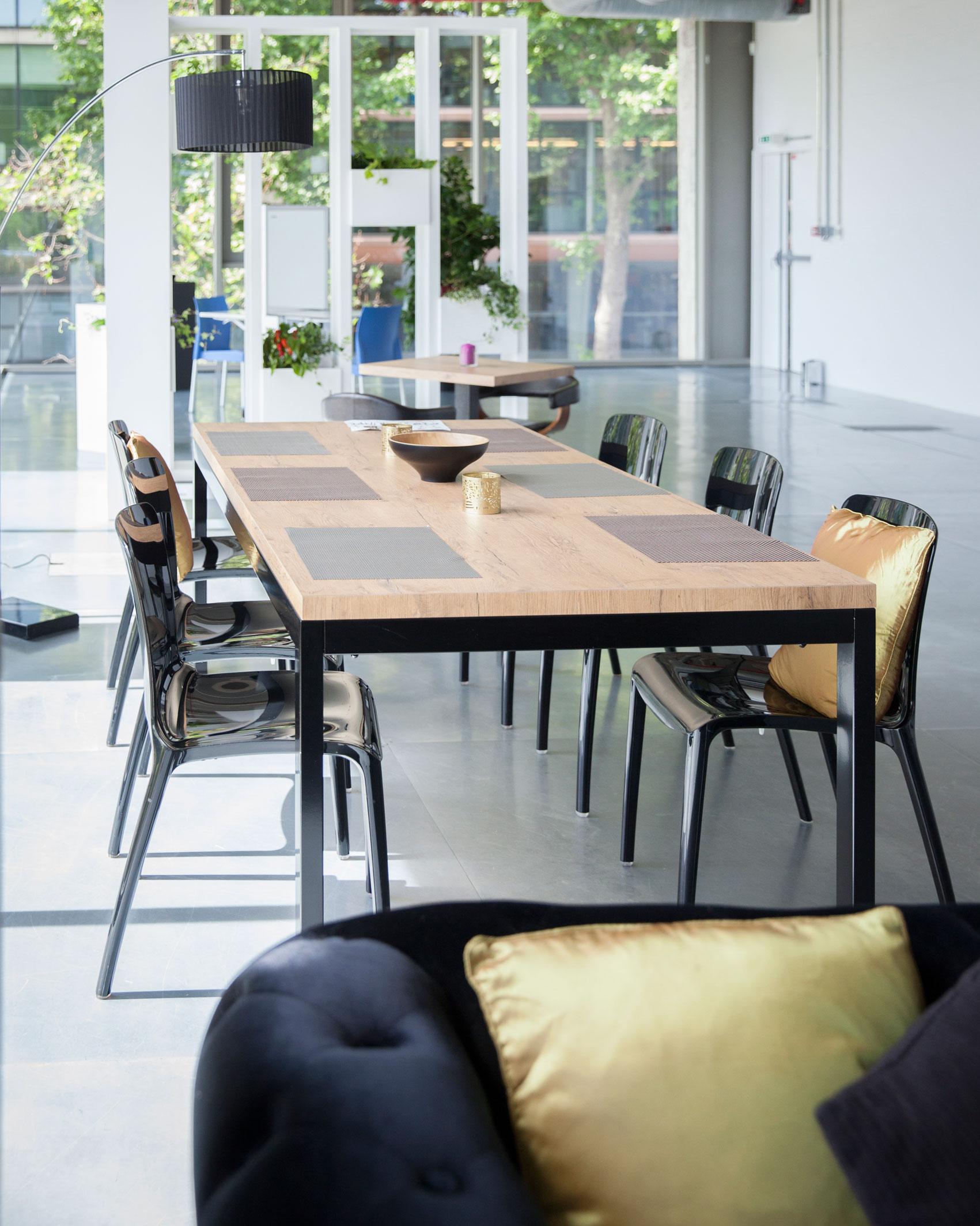 linea table bois metal noir location de mobilier art event ch