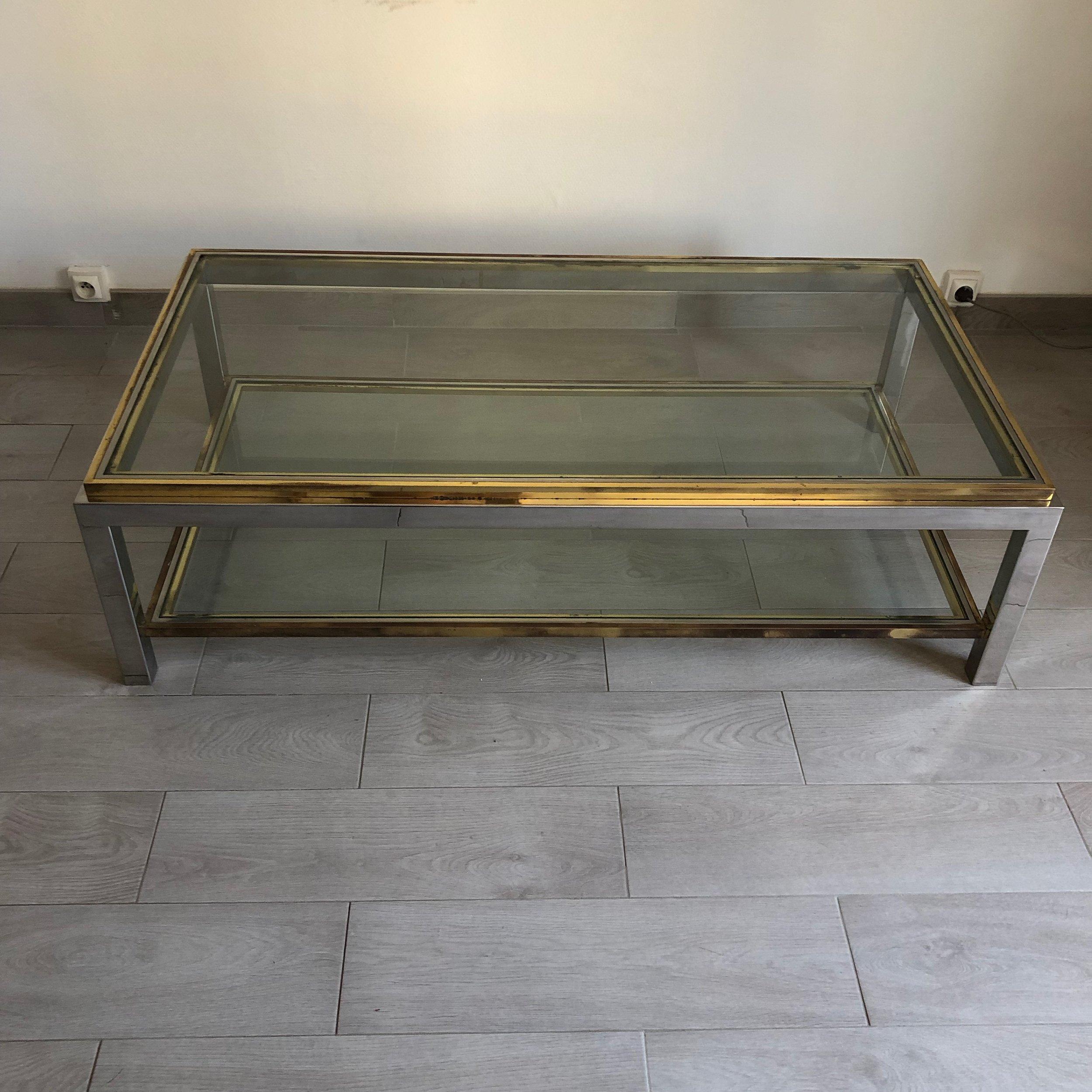table basse vintage laiton chrome jean charles vintage 1970 jolie vieillerie