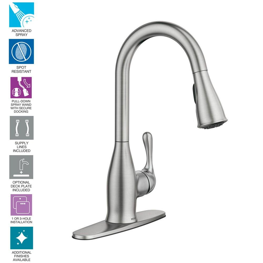 moen kaden single handle pull down sprayer kitchen faucet with reflex and power clean in spot resist stainless williamsburg plumbing company