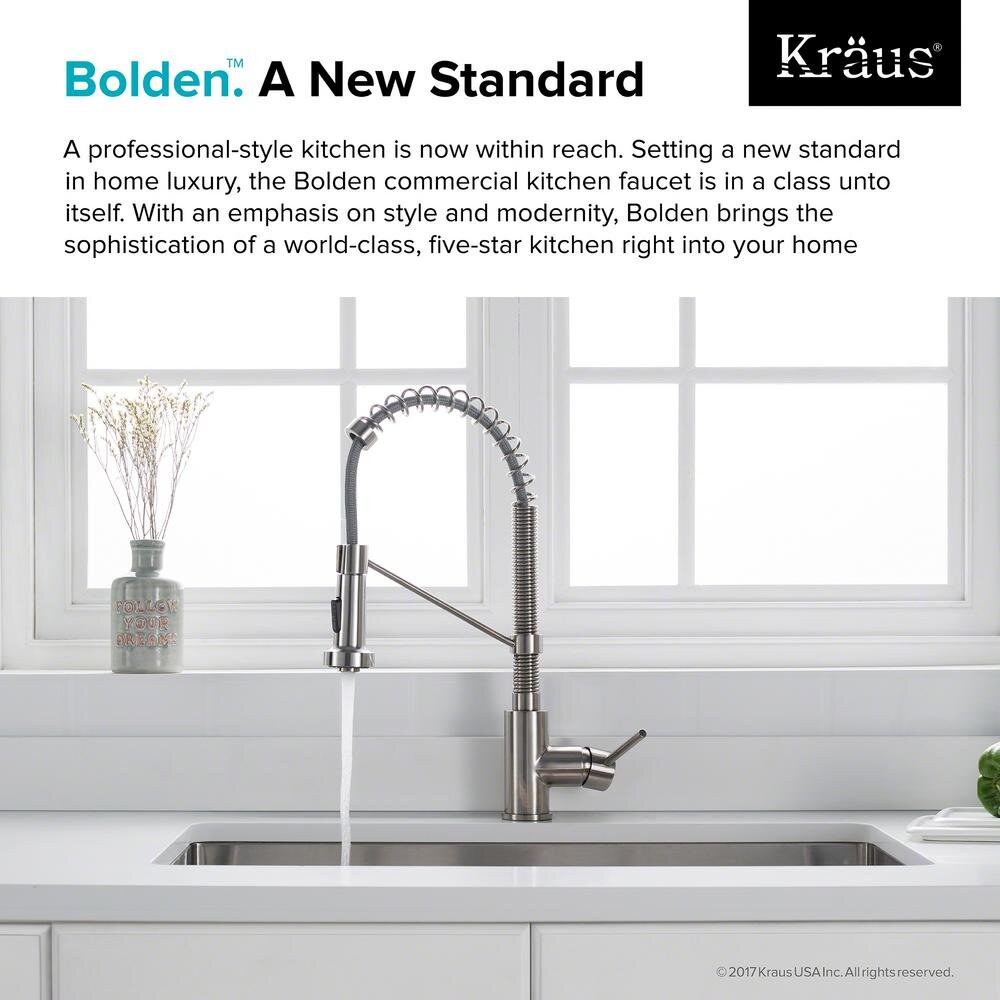 kraus bolden single handle pull down sprayer kitchen faucet with dual function sprayhead in stainless steel williamsburg plumbing company