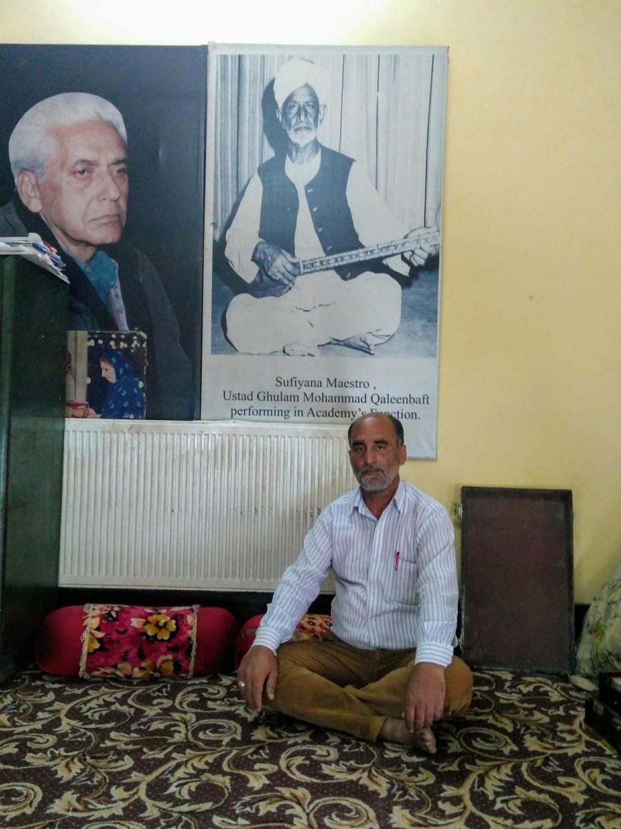 Kashmiri classical music maestro Ustad Mohammad Yaqoob Sheikh at the All India Radio office in Srinagar, India. Photo by Priyadarshini Sen.