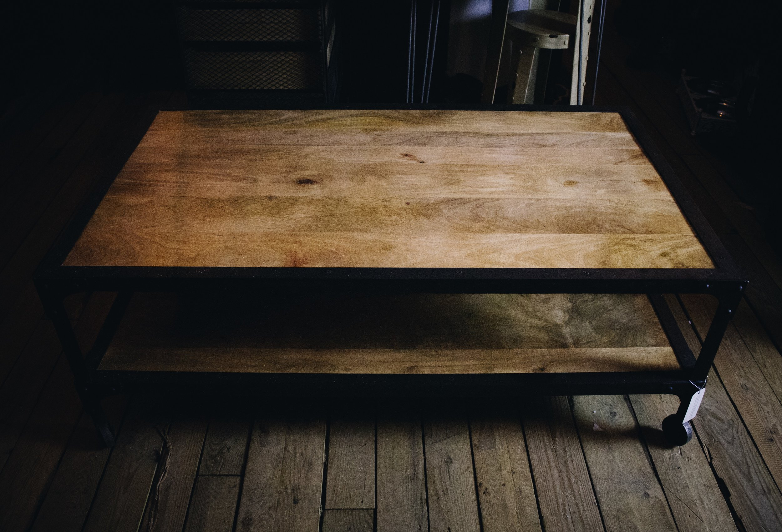 reclaimed large wooden coffee table with industrial cast iron framework and castors rustic something different