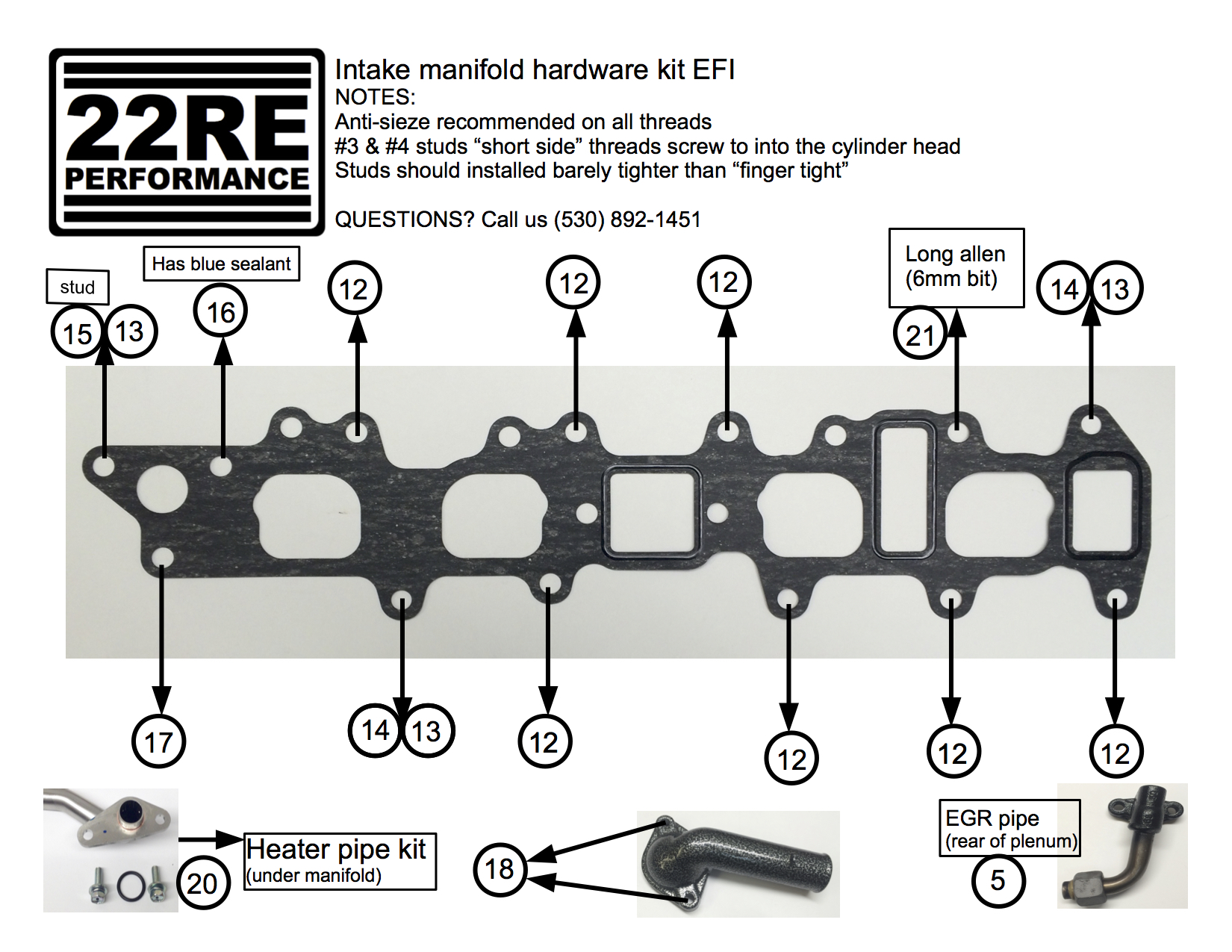 intake manifold hardware kit 22re performance