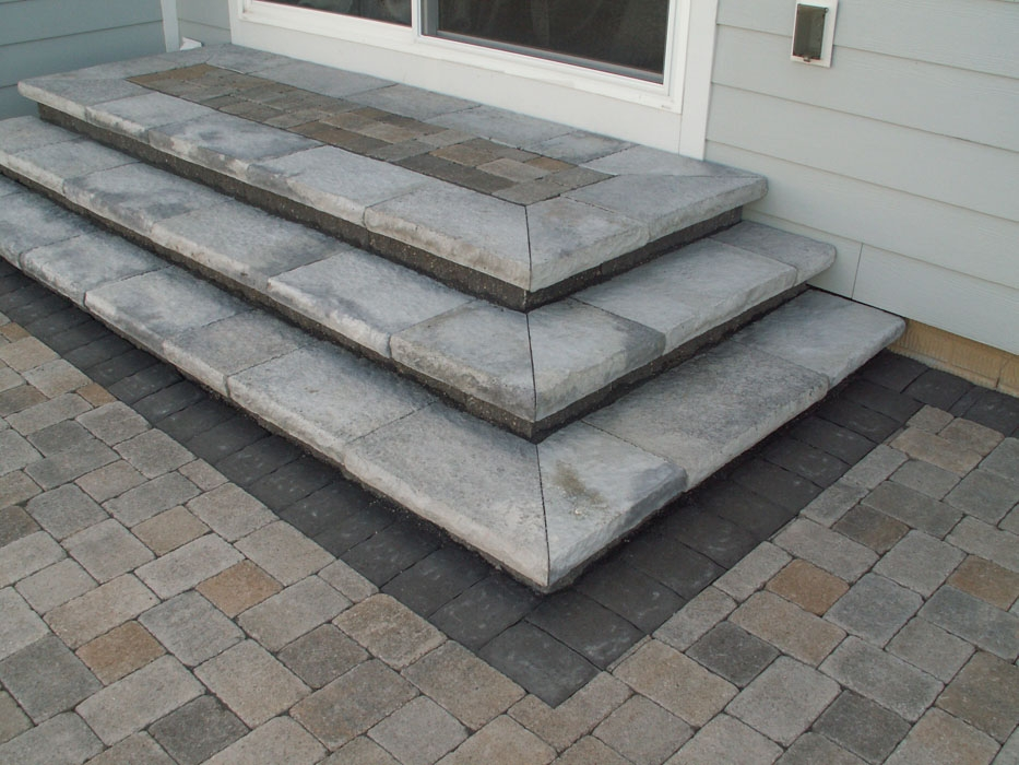 Steps — 9 Trees Landscape Construction | Patio With Stairs From House | Residential | Curved Paver | Main Entrance Stamped Concrete Front | Walkout Basement | Decorative