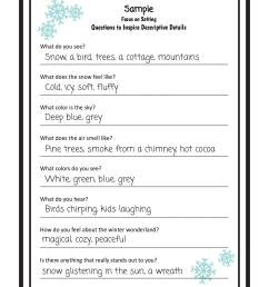 Descriptive Writing Lesson - A Winter Setting — TeachWriting.org [ 1294 x 1000 Pixel ]